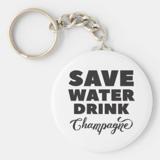Save Water, Drink Champagne Key Ring