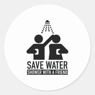 Save Water Shower With A Friend Round Sticker