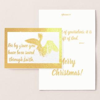 Saved by Grace Ephesians Egret Christmas Foil Card