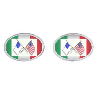 Saved Italian American - 3 Flags Silver Finish Cufflinks