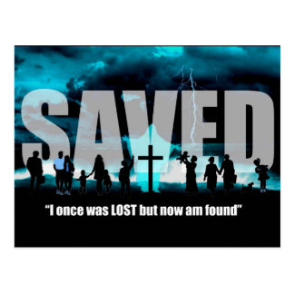 Saved not Lost Christian post card salvation art