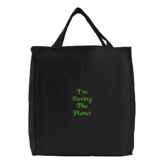 Saving Planet Embroidered Bag