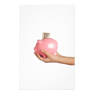 Savings in piggy bank stationery