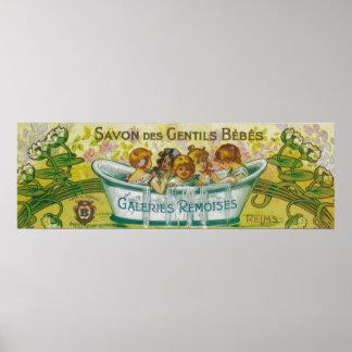 Savon Des Gentils Bebes Soap Label Poster