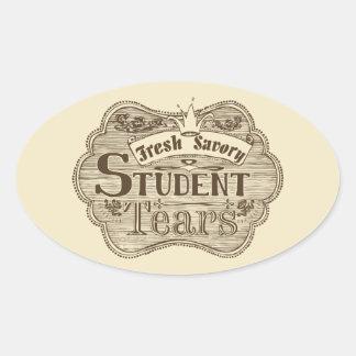 Savory Student Tears Hand Drawn Chalkboard Oval Sticker