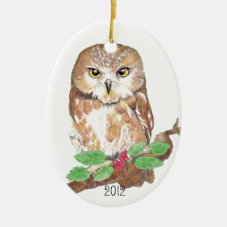 Saw Whet Owl Christmas Custom Dated Ceramic Oval Decoration