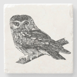 Saw Whet Owl Stone Coaster