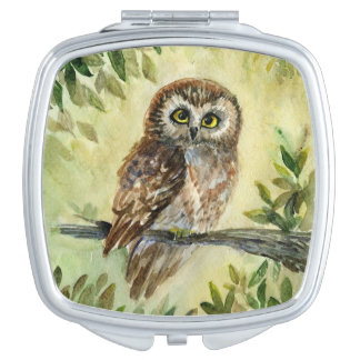 Saw-Whet Owl watercolor painting Makeup Mirrors