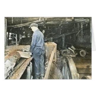 Sawmill Workers Magic Lantern Slide 5 Greeting Card