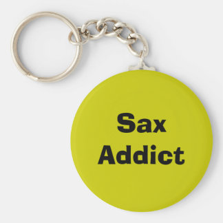 Sax Addict - saxophone Basic Round Button Key Ring