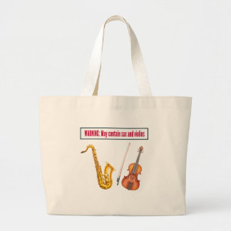 sax and violins large tote bag