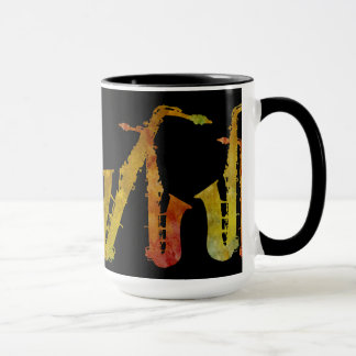 Sax Buddies Orange and Gold on Black Mug