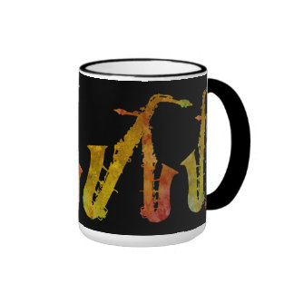 Sax Buddies Orange and Gold on Black Mugs