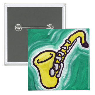 Sax - Cartoon 15 Cm Square Badge