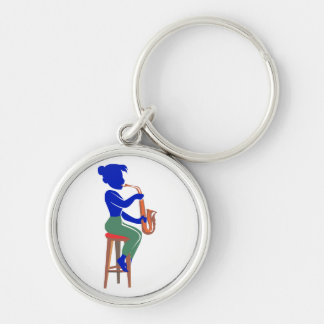 sax female sitting player abstract blue.png key ring