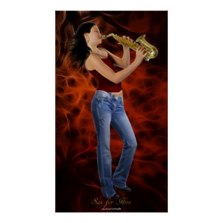 """SAX FOR HIRE"" SAXOPHONE Music Lover Art Poster"