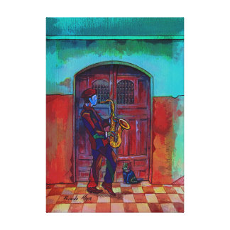 Sax in Midnight. Canvas Print