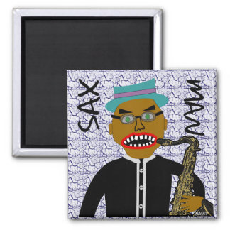 Sax Man Blues Folk Art Design Magnet