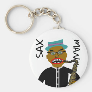 Sax Man Blues Folk Art Key Ring