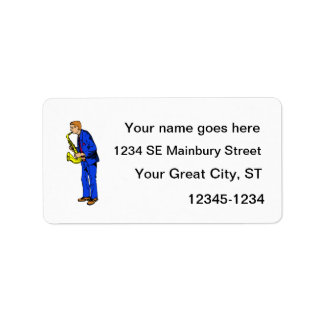 Sax Player Male Blue Suit Side View Music Graphic Address Label