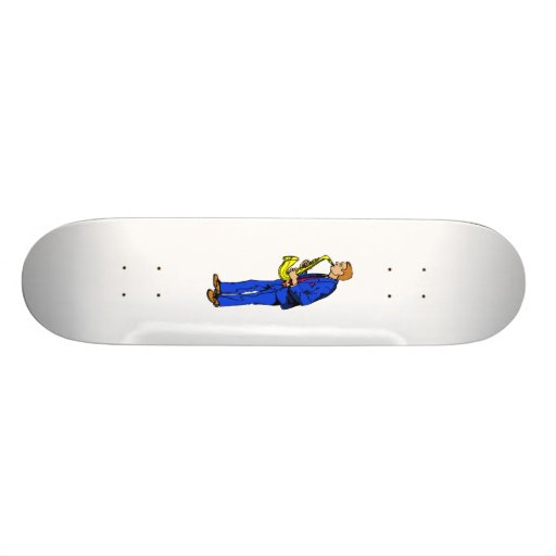 Sax Player Male Blue Suit Side View Music Graphic Skate Boards