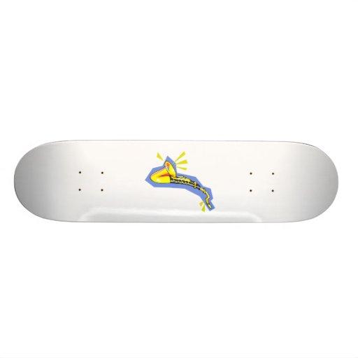 Sax saxophone stylized yellow blue graphic skate deck