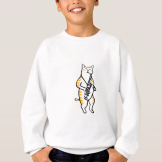 saxcat - Cat Playing Saxophone Sweatshirt