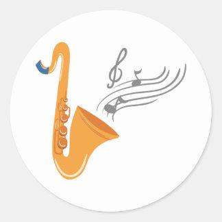 Saxophon saxophone sax classic round sticker