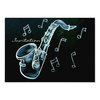 Saxophone And Music Notes 13 Cm X 18 Cm Invitation Card