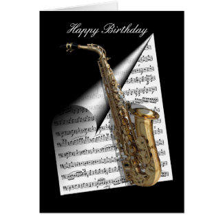Saxophone and Music sheet Card