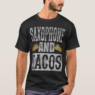 Saxophone and Tacos Funny Taco Band Distress T-Shirt