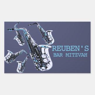 Saxophone Bar Mitzvah Rectangular Sticker