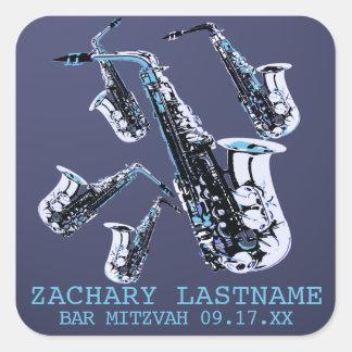 Saxophone Bar Mitzvah Square Sticker