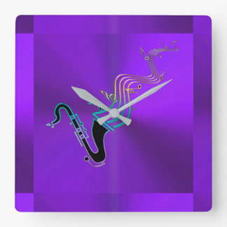 Saxophone  Blowing Notes Modern Metallic Purple Square Wall Clock