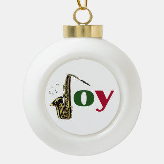 Saxophone Christmas Joy Ceramic Ball Decoration