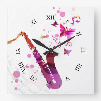 Saxophone cute music and butterflies square wall clock