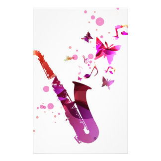 Saxophone cute music and butterflies customised stationery