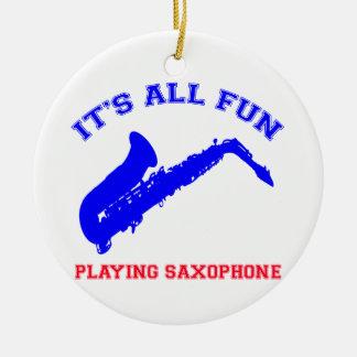 saxophone Designs Ceramic Ornament