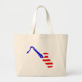 Saxophone Flag Background Large Tote Bag