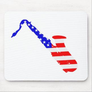 Saxophone Flag Background Mouse Pad