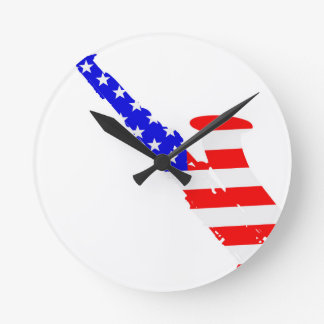 Saxophone Flag Background Round Clock