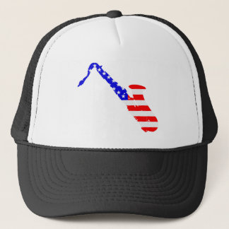 Saxophone Flag Background Trucker Hat
