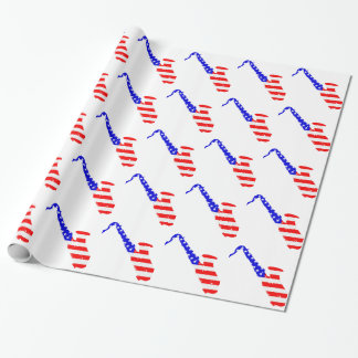 Saxophone Flag Background Wrapping Paper
