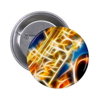 Saxophone - Fractal 6 Cm Round Badge