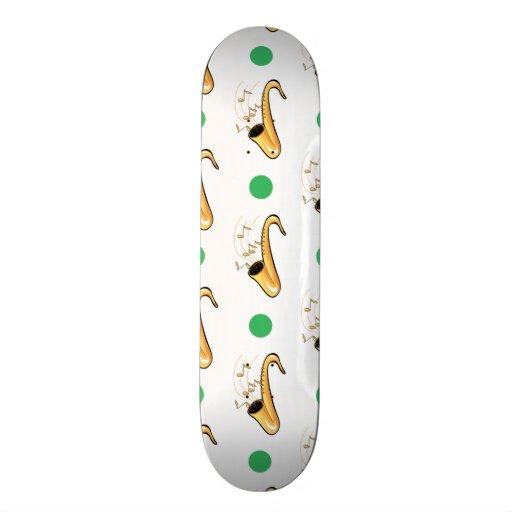 Saxophone, Green & White Polka Dots Skate Board Decks