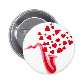 Saxophone Hearts 6 Cm Round Badge