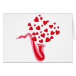 Saxophone Hearts Greeting Card