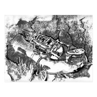 Saxophone in the grass postcard