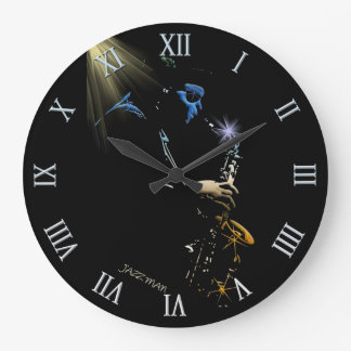 Saxophone Jazz Player Art Design Large Clock