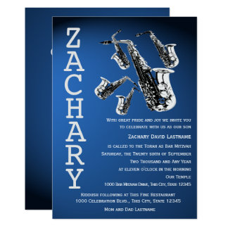 Saxophone Mania Music Blue Bar Mitzvah Card